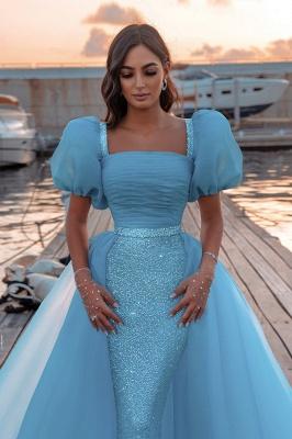 Sexy Short Sleeves Mermaid Square Sequin Chiffon Prom Dresses_2