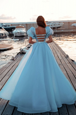 Sexy Short Sleeves Mermaid Square Sequin Chiffon Prom Dresses_4