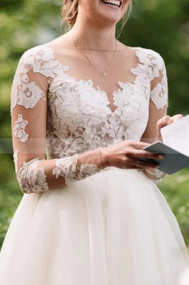 Charming Long Sleeve White Floral Lace Wedding Dress Tulle_3