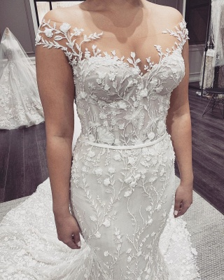 Elegant Off The Shoulder Tulle Lace Mermaid Wedding Dresses_4