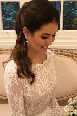 Graceful Jewel Long Sleeves Lace Wedding Dresses With Bow_2