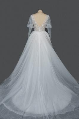Glamorous V Neck Tulle Lace Beading Wedding Dresses With Long Sleeves_4