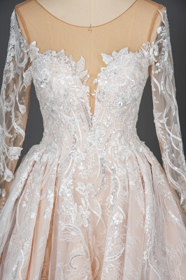 Gorgeous Long Sleeves Tulle Beading Wedding Dresses With Lace Appliques_6