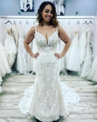 Sexy Sleeveless Sweetheart Lace Wedding Dresses Mermaid_2