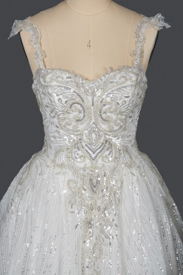 Elegant Sleeveless Tulle Lace Wedding Dresses With Sequins Long_9
