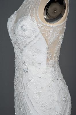 Elegant Jewel Sleeveless Tulle Lace Mermaid Wedding Dresses Long_5