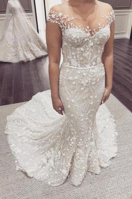 Elegant Off The Shoulder Tulle Lace Mermaid Wedding Dresses_1