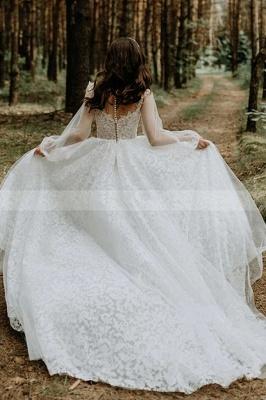A-Line Lace Long Sleeves White Wedding Dresses Chapel Train_3