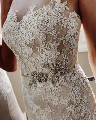 Elegant White Sleeveless Wedding Dresses With Lace Appliques_5