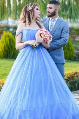 Gorgeous Off The Shoulder Sleeveless Tulle Light Blue Prom Dresses_1
