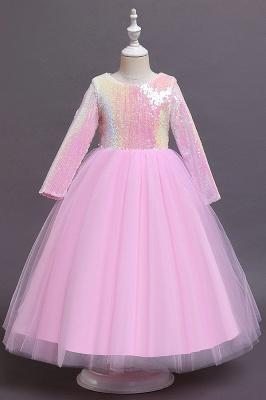 Princess Long Sleeves Sequins Flower Girls Dresses Ankle-Length_1
