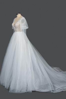 Glamorous V Neck Tulle Lace Beading Wedding Dresses With Long Sleeves_3