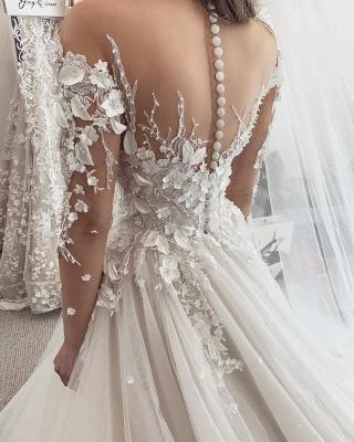 Beautiful White Lace Wedding Dresses Long Sleeves_3