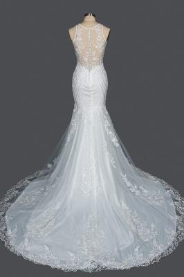 Elegant Jewel Sleeveless Tulle Lace Mermaid Wedding Dresses Long_2