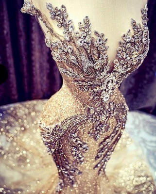 Luxury Sleeveless Jewel Bronzing Crystal Beading Wedding Dresses Mermaid_2