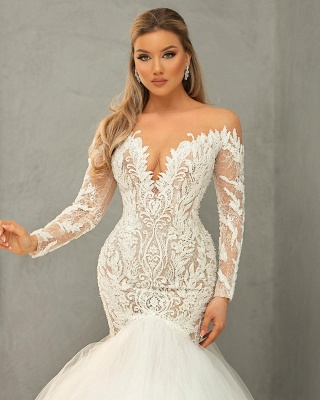 Sexy Sweetheart Long Sleeves Mermaid Wedding Dresses With Lace Appliques_3