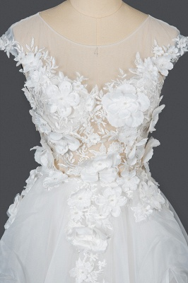 Gorgeous Tulle Sleeveless Beading Wedding Dresses With Lace Appliques_7