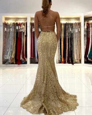 Luxury Sleeveless Lace Ruffles Prom Dresses Mermaid_2