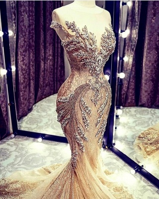 Luxury Sleeveless Jewel Bronzing Crystal Beading Wedding Dresses Mermaid_3