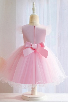 Princess Short Sleeves Beading Flower Girls Dresses With Bowknot_6