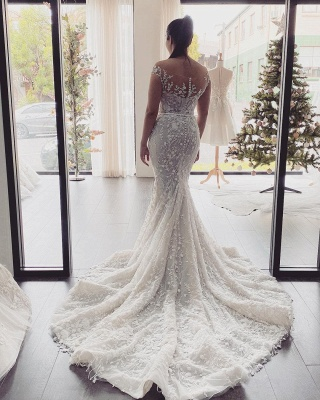 Elegant Off The Shoulder Tulle Lace Mermaid Wedding Dresses_3