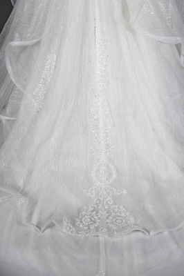 A-Line White Tulle Ruffles Beading Lace Wedding Dresses With Short Sleeves_3
