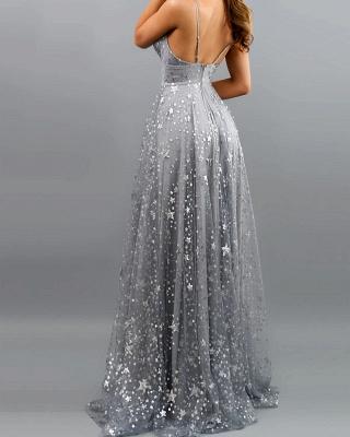 Gorgeous Spaghetti Straps Grey Blue Sequins Prom Dresses Split_4
