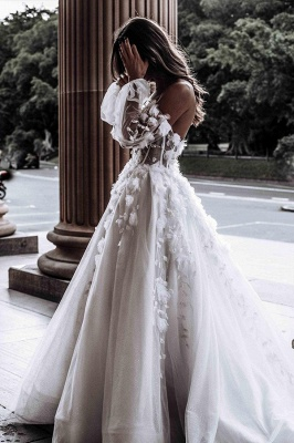 Floral Floor-length Sweetheart Tulle Beading Wedding Dresses With Long Sleeves_3