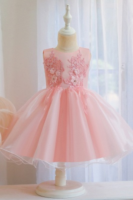 Sweet Jewel Tulle Flower Girls Dresses With Appliques_2