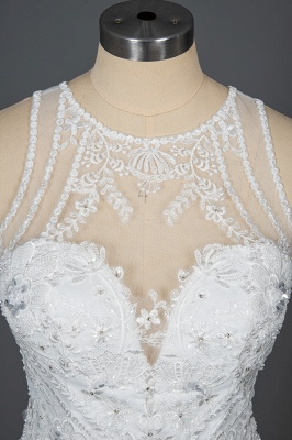 Elegant Jewel Sleeveless Tulle Lace Mermaid Wedding Dresses Long_11