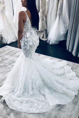 Sexy Sleeveless V Neck Tulle Mermaid Wedding Dresses With Lace Appliques_2