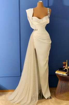Luxury Sleeveless Ivory Satin Split Mermaid Prom Dresses With Beading_1