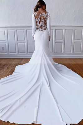 Floor Length Bateau White Wedding Reception Dresses Long Sleeves_2