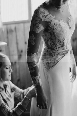 Charming Long Sleeve White Floral Lace Wedding Dress Tulle_5