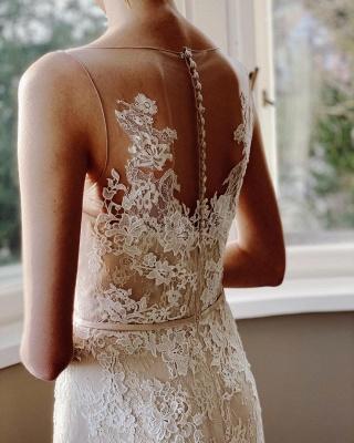 Elegant White Sleeveless Wedding Dresses With Lace Appliques_4