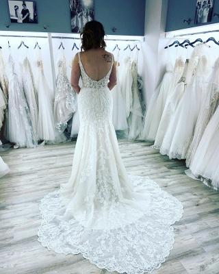 Sexy Sleeveless Sweetheart Lace Wedding Dresses Mermaid_3