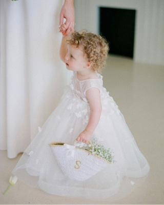 Cute White Jewel Flower Girls Dresses With Lace Appliques_2