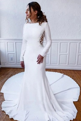 Floor Length Bateau White Wedding Reception Dresses Long Sleeves_1