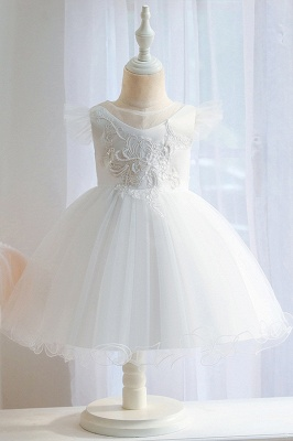 Princess Short Sleeves Beading Flower Girls Dresses With Bowknot_1