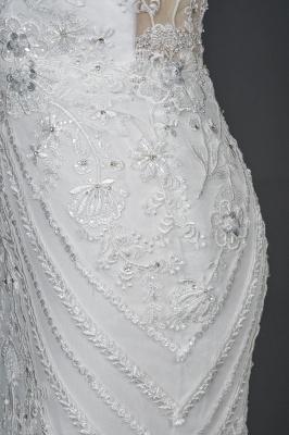 Elegant Jewel Sleeveless Tulle Lace Mermaid Wedding Dresses Long_3