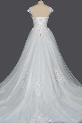 Graceful Tulle Lace Beading A-Line Wedding Dresses With Appliques_7