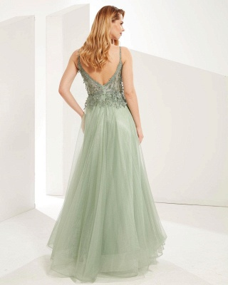 Elegant Sleeveless Dustysage Green Prom Dresses With Lace Appliques_2