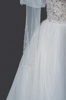 Glamorous V Neck Tulle Lace Beading Wedding Dresses With Long Sleeves_5