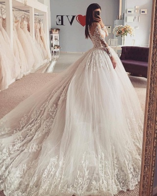 Aline Long Sleeves Ball Gown Lace Tulle Bridal Gown Floral_2