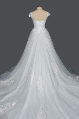 Graceful Tulle Lace Beading A-Line Wedding Dresses With Appliques_2