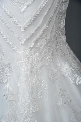 Elegant Jewel Sleeveless Tulle Lace Mermaid Wedding Dresses Long_4