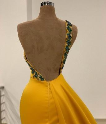 Sexy One Shoulder Mustard Beading Mermaid Prom Dresses Split_3