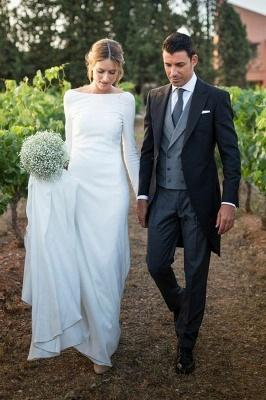 Simple Bateau Long Sleeves White Wedding Dress_1