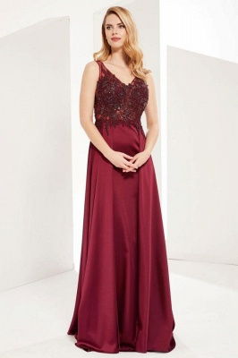 Gorgeous V Neck Burgundy Red Prom Dresses With Lace Appliques_1