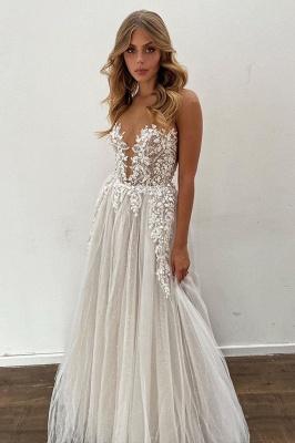 Glamorous Sleeveless White Lace Wedding Dresses Long_3